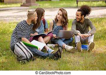 Campus multiethnic students learning on lawn.