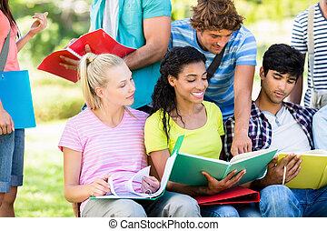 campus, studenci kolegium, badając