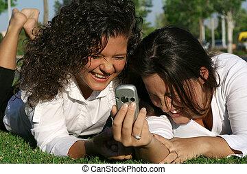 campus, studenten, oder, mobilfunk, beweglich, spaß, haben, lachender
