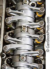 Camshaft close up, Four valve per cylinder system