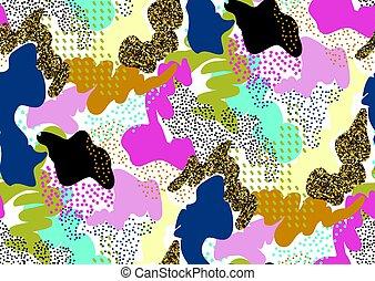 camuffamento, seamless, modello, in, uno, tonalità, di, rosa, giallo, oro, brillare, blu, rosso, colori