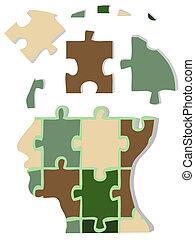 camuflagem, jigsaw, cabeça