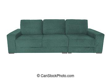 camurça, isolado, sofá, sofá, modernos