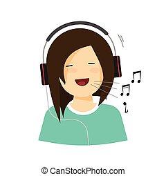 canção, fones, isolado, vetorial, sorrindo, cantando, menina, feliz