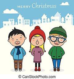 canções, livros, cantando, natal, crianças