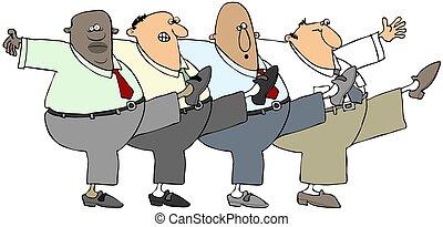 can-can, fyra, män, gammal, dansande