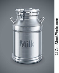 can container for milk on gray background - EPS10 vector illustration