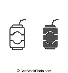 Can drink line and glyph icon. Soda vector illustration isolated on white. Beverage outline style design, designed for web and app. Eps 10.