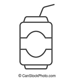 Can drink thin line icon. Soda vector illustration isolated on white. Beverage outline style design, designed for web and app. Eps 10.