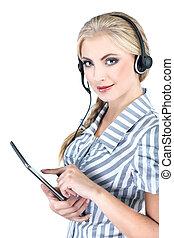 Can I help you ? Closeup of a female customer service representative