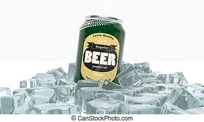 Can of beer in ice cubes isolated on white