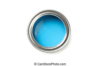 Can of blue paint isolated on white background