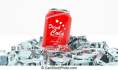 Can of cola in ice cubes isolated on white