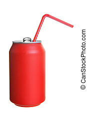 Can of cola with straw isolated over white background