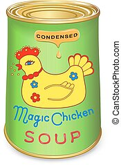 Can of condensed Magic chicken soup. Vector illustration isolated on white background