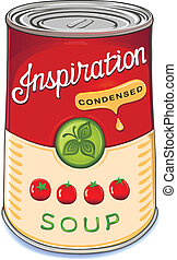 Can of condensed tomato soup Inspiration isolated on white background. Created in Adobe Illustrator. Image contains gradients, transparencies and gradient meshes. EPS 10.
