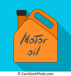 Can of engine oil.Car single icon in flat style raster, bitmap symbol stock illustration web.