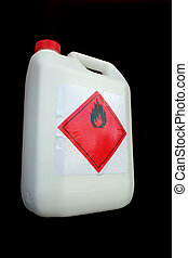 Can of flammable liquid - White plastic can with flammable...