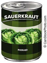 Can of pickled sauerkraut
