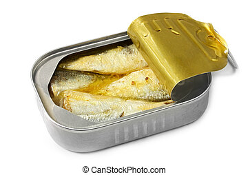 Open can of sardines, isolated on white with soft shadow.