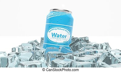 Can of sparkling water in ice cubes isolated on white