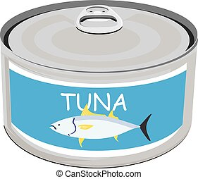 Can of tuna - Vector illustration canned tuna fish icon. Can...