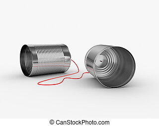 Can phone - 3d illustration of can phone with red cable
