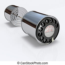 Two 3D chrome cans connected by a string with an old-fashioned phone dial disc with numbers