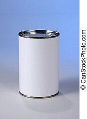 Can With Blank Label - Can with blank label over blue...