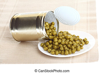 can with canned, tinned peas, - Tin opening a can of food...