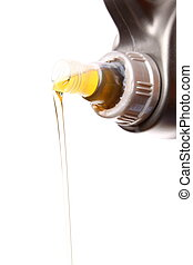 Can with car engine oil pouring isolated