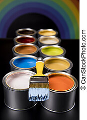 Can with paint and paintbrush