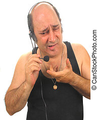 ,a telemarketer on a headset, over white, good humor and expression material