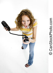 Can You Hear Me Now? - Beautiful young woman yelling into...