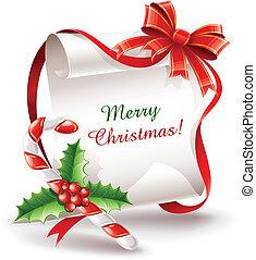cana, caramelo, cartão cumprimento, natal