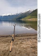 cana de pesca, e, lago