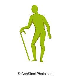 cana, figura, isolado, pessoa idosa, verde
