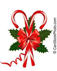 cana, illustration., bow., vetorial, doce, brilhante, natal...