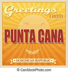 cana, punta, dominikanisch, touristic, plakat, republik