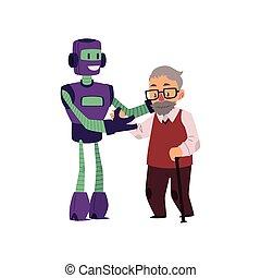 cana, robô, passeio, ajudando, sênior, antigas, homem