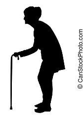 cana, silueta, andar, costas, idoso, dobrado, mulher