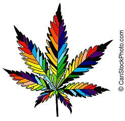 isolated rainbow vector cannabis leaf