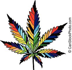 canabis - isolated rainbow vector cannabis leaf