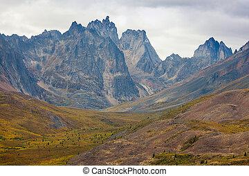canadá, alcance montanha, tombstone, território, yukon
