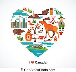 canadá, amor, -, corazón, con, iconos, y, elementos