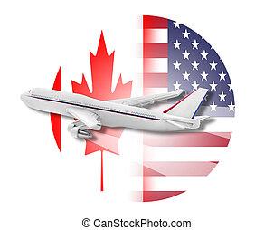 canadá, avião, estados, unidas, flags.