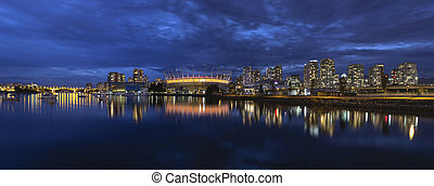 canadá, azul, falso, riacho, hora, bc, skyline, vancouver