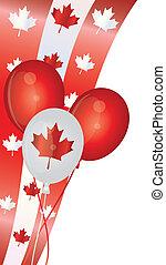 canadá, balões, dia, ilustração, feliz