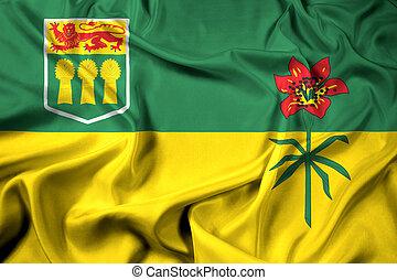 canadá, bandeira acenando, província, saskatchewan