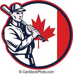 canadá, bandera canadiense, bateador del béisbol, círculo